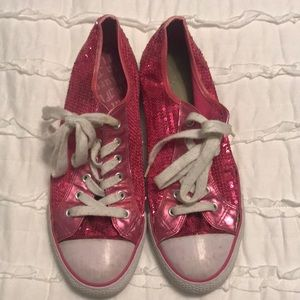 Pink sparkly sequin low top tennis shoes